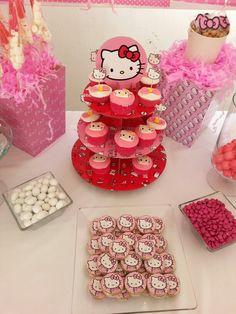 Candy Station. Candy bar. mesa de postres. mesa de dulces. fiesta Hello Kitty party