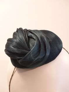 Teal Twisted Silk abaca Button Fascinator by MDionneChapeliere