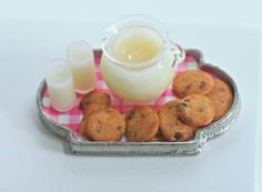 Miniature Chocolate Chip Cookies & Milk on Pewter Tray