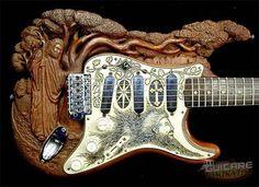 """Carved  """"jesus"""" Guitar , Fender stratocaster."""