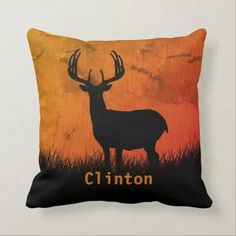 This Rustic Deer Throw Pillow is the ideal finishing touch for the approaching deer season. Now is the time to add your name and place your order. Hunting Home Decor, Deer Silhouette, Orange Sky, Modern Family, Rustic Design, Home Decor Styles, Artwork Design, Custom Pillows, Art Pieces