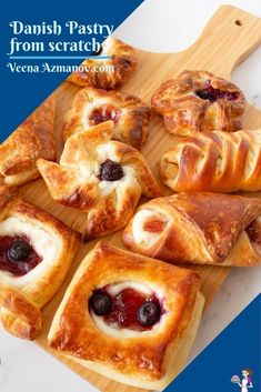 Make your own Danish pastry (also called breakfast pastry) from scratch with a variety of wonderful fillings and shapes. This flaky, buttery, rich pastry is a laminated dough similar to croissants and puff pastry. #danishpastry #danish #laminateddough #pastry #breakfastpastry #easylaminateddough #danishfromscratch