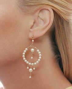 Shop for pearl hoop earrings & beaded hoop earrings at Beth Devine Designs. All handmade earrings & jewelry gifts are made to order and ship in 3 days Wire Jewelry, Jewelry Crafts, Wedding Jewelry, Beaded Jewelry, Jewelery, Jewelry Ideas, Star Jewelry, Wedding Earrings, Crystal Earrings