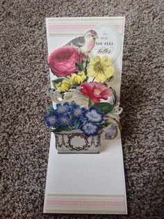Card by D Marshall using Anna Griffin Sweet Salutations Pop Up Card and Flower Pot Decoupage embellishments, gold foil stickers