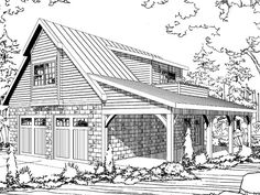 Garage apartment plans are closely related to carriage house designs. Typically, car storage with living quarters above defines an apartment garage plan. View our garage plans. Garage Loft, Garage Plans With Loft, Plan Garage, Garage Doors, Garage Studio, Garage House, Garage Ideas, Yard Ideas, Garage Apartment Plans