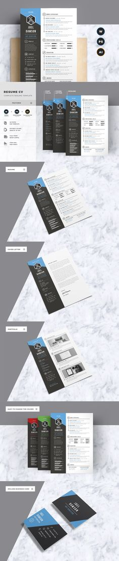 Resume CV Template AI, EPS, PSD, MS Word