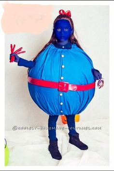 Show Stopping DIY Violet Beauregard Blueberry Costume from Charlie and the Chocolate Factory... Enter Coolest Halloween Costume Contest at http://ideas.coolest-homemade-costumes.com/submit