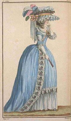 Magasin des Modes, May 1786.  Oh, that color!  What a gorgeous gown, especially with that fabulous bow trim!