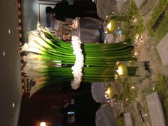 Green & white wedding table decor