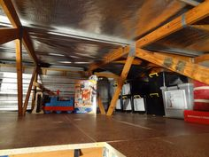 Garage Organisation and Creating More Storage – Using Roof Space – There Was a Crooked House Garage Roof, Garage Attic, Diy Garage, Roof Storage, Attic Storage, Storage Spaces, Garage Organisation, Organization, Crooked House