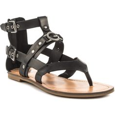 G by Guess Women's Hartin - Black LL ($50) ❤ liked on Polyvore featuring shoes, sandals, strap sandals, g by guess shoes, vegan shoes, flat sandals and black strap sandals