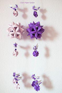 origami decoration - purple kusudama and bird