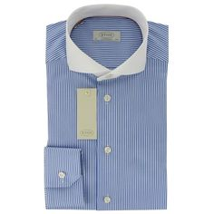 New 2015 Eton Sky Blue Stripe White Collar Shirt - Contemporary Fit