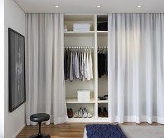 Bedroom: Hidden Closet Bedroom With Curtain Decor - 10 Hidden Closet Ideas For Small Bedrooms Bedroom Wardrobe, Home Bedroom, Bedroom Decor, Open Wardrobe, Bedroom Wall, Mirror Bedroom, Hidden Closet, Closet Curtains, Curtain Wardrobe Doors