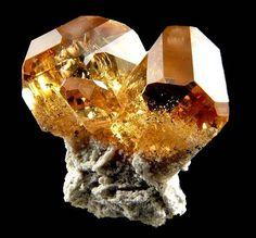 Super high quality Topaz cluster on Rhyolite matrix. From Pismire Wash, Maynard's Claim, Thomas Range, Juab County, Utah, USA