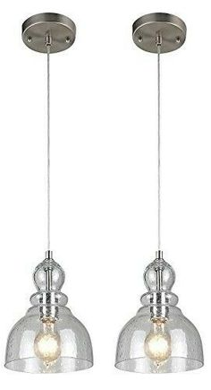Westinghouse Industrial One-Light Adjustable Mini Pendant with Handblown Clear Seeded Glass, Brushed Nickel Finish – 2 Pack – Industrial Lighting Fixtures & Decor - Modern Brushed Nickel Pendant Lights, Clear Glass Pendant Light, Island Pendant Lights, Mini Pendant Lights, Modern Pendant Light, Island Pendants, Island Lighting, Farmhouse Pendant Lighting, Industrial Light Fixtures