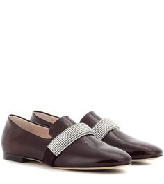 Brown embellished leather loafers