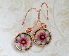 Southwest Flower Copper Photo Earrings  ~Ann Widner, Little Visions Photo & Jewelry Art, www.annwidner.etsy.com