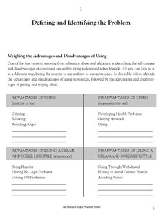 Printables Addiction Recovery Worksheets free worksheets for recovery relapse prevention addiction women defining and identifying the problem worksheet this is how dbt pros cons are
