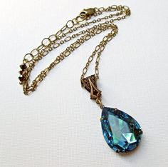 Statement Necklace  Turquoise Crystal Necklace  by ParisienneGirl, $25.00