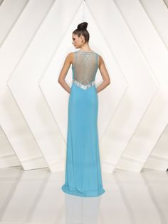 Chiffon V neck with Ruched Empire Sheath Skirt and Sheer Back Design Modest Prom Dress