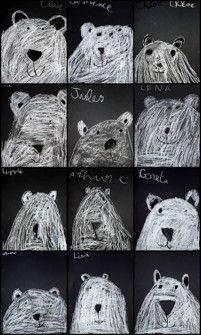 bears on a chalkboard. les ours polaires - artgora - clamart Winter Art Projects, Winter Project, Winter Crafts For Kids, Art For Kids, Classroom Art Projects, Art Classroom, Kindergarten Art, Preschool Art, 2nd Grade Art