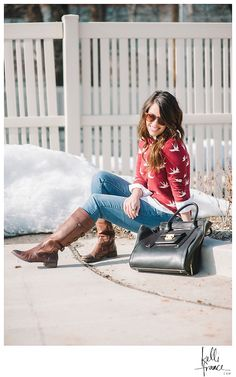 Bright Red Sweater, jeans and boots