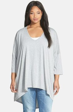 Sejour V-Neck High/Low Jersey Tunic (Plus Size) available at #Nordstrom