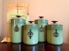 Unopened canister set 1960's avocado green set of four canisters. Still in box! West Bend Country Inn on Etsy, $75.00