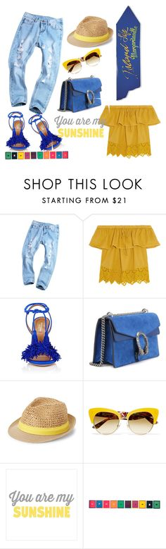 """""""My only sunshine"""" by glam-girl1 ❤ liked on Polyvore featuring Madewell, Aquazzura, Gucci, Steve Madden, Dolce&Gabbana, House Of Voltaire and Frontgate"""