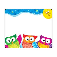 Owl name tags from Trend.