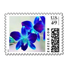 Personalizable Blue and Purple Dendrobium Orchid Postage Stamps. Can be customized with your own text, monogram, names, and date in your favorite font and color. Great for wedding, bridal shower, engagement party, vow renewal, and anniversary invitations, announcements, save the dates, thank yous, etc. Available horizontal or vertical, different orchid colors, and different postage amounts. Other matching items (invitations, envelope seals, favor stickers, napkins, etc) available. #blue…