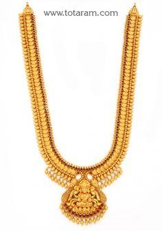 22K Gold 'Lakshmi' Long Necklace (Temple Jewellery): Totaram Jewelers: Buy Indian Gold jewelry & 18K Diamond jewelry