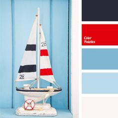 Classic combination of blue pastel shades with dark blue and intense red. This palette will be good for interior decoration of maritime-themed parties. Items of clothing of the corresponding style made in this color range will look natural at a corporate event or a yacht club party.