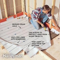 Install the shower pan liner.                                                                                                                                                                                 Más