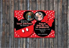 FREE COLOR CHANGE sale! Custom Minnie Micky Mouse Double Birthday Party Invite 5x7 on Etsy, $12.00