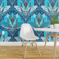 Peel-and-Stick Removable Wallpaper Lotus Art Deco Floral Modern Nouveau Lily Lotus Wallpaper, Wallpaper Roll, Peel And Stick Wallpaper, Lotus Art, Modern Art Deco, Deco Floral, Design Repeats, Light Blue Area Rug, Diy Hanging
