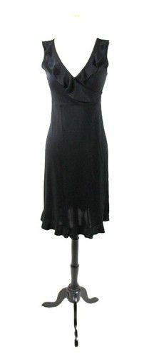 MAX STUDIO Black RUFFLED Faux Wrap VNECK ALine SLEEVELESS Sun Dress LBD XS
