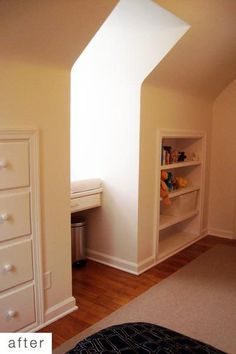 i've seen the built in shelves before, but i love the idea of a built in dresser. saves so much space!