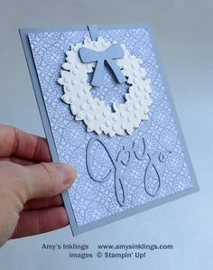 handmade Christmas card ...monochromatic sky blues and white ... Wondrous Wreath die cut only ...  Stampin' Up!