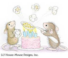 """Poppin Good Birthday from House-Mouse Designs®. This image was recently purchased on a rubber stamp. Click on the image to see it on a bunch of other really """"Mice"""" products."""