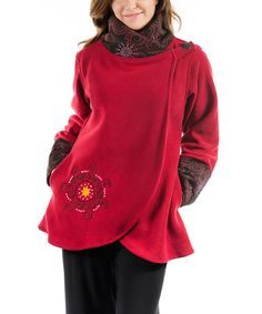 Raspberry & Black Medallion Fleece Jacket by Adria Mode #zulily #zulilyfinds  Good use of pattern repetition.  I think that the embroidery which picks up on the fabric should also go on the bottom third in the back.