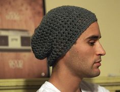 Free Crochet Beanie Pattern Men's   Slouchy Beanie Crochet Pattern for Beginners   PATTERN Simple Men's ...