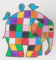 Elmer the Patchwork Elephant Coloring Page based on the story by McKee.