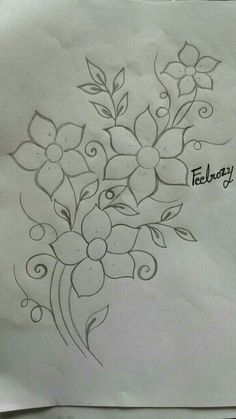 Hand Embroidery Design Patterns, Hand Embroidery Projects, Hand Embroidery Videos, Embroidery Stitches Tutorial, Embroidery Flowers Pattern, Embroidery Works, Hand Embroidery Patterns, Flower Pattern Drawing, Flower Art Drawing