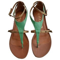Unisa Shoes Unisa Ladies Green And Gold Gladiator Style Sandal ($160) ❤ liked on Polyvore