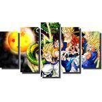 Quadro Dragon Ball Z Goku Super Sayajin 5 Peças Para Sala M5