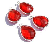 1 Pc 22x18mm Bezel Set Red Quartz Faceted Pear Shaped Gemstone