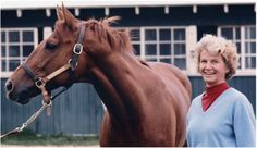 Owner Penny Chenery and Secretariat, 1973 Kentucky Derby winner and record-setting Triple Crown winner in the Preakness and Belmont