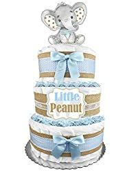 Easy Diaper Cake Instructions Anyone Can Make! Elephant Cake Toppers, Elephant Diaper Cakes, Teddy Bear Baby Shower, Baby Boy Shower, Baby Showers, Baby Shower Diapers, Baby Shower Cakes, Diaper Cake Instructions, Teddy Bear Cakes